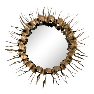 Mid-Century Brutalist Brass Sunburst Mirror in the Style of Curtis Jere For Sale