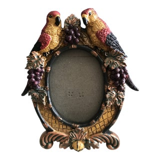 Mid-Century Plaster Birds, Grapes and Foliage Picture Frame For Sale