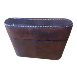 1960s Vintage Peal & Co Hand Sewn Brown Leather Cigarette Case For Sale