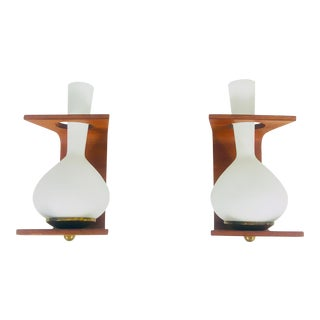 1960s Mid-Century Modern Teak and Opaline Glass Wall Lamps Attr. To Stilnovo, Italy - a Pair For Sale