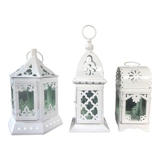 Anthropologie White Votive Lantern Holders - Set of 3 For Sale