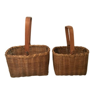 Vintage Mid Century Nesting Baskets - a Pair For Sale