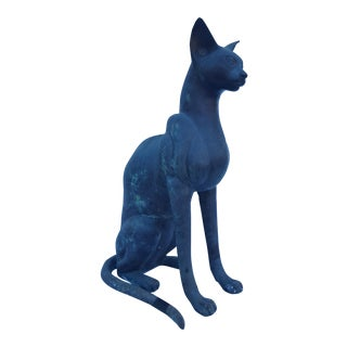 Vintage Solid Bronze Cat Statue / Sculpture For Sale