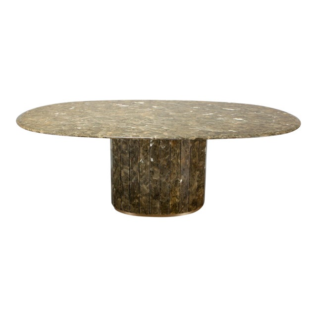 Jean Charles Onyx and Gold Leaf Marble and Brass Dining Table For Sale