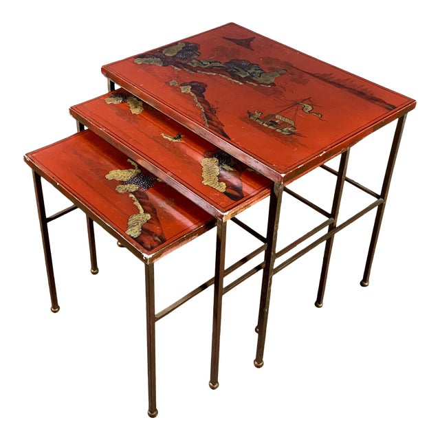 19th Century Red Lacquered Nesting Tables For Sale