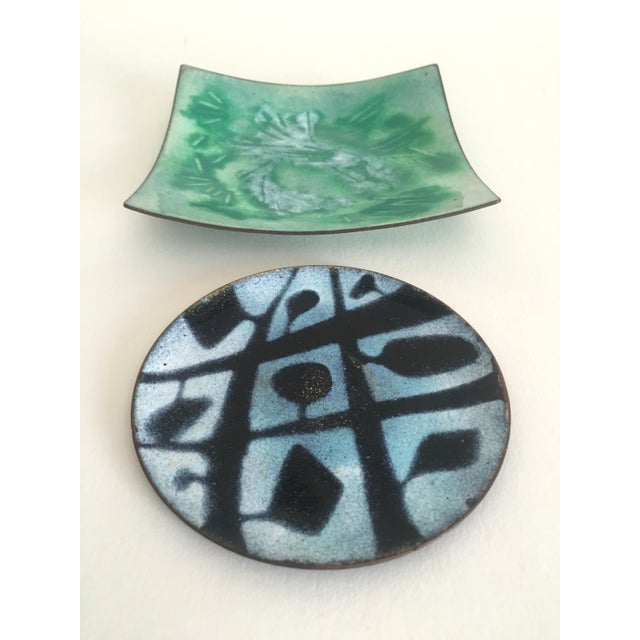 Mid-Century Copper & Enamel Plates - A Pair For Sale - Image 4 of 10