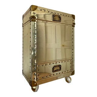 1970s Brass Trunk Nailhead Cabinet For Sale