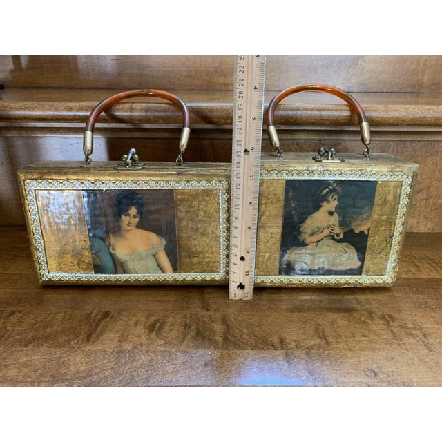 Victorian Gold Decor Wall Hanging Victorian Boxes - a Pair For Sale - Image 3 of 12