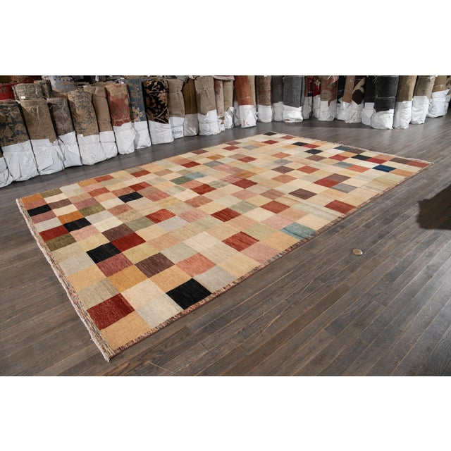 Textile Apadana - Modern Oversize Multicolored Geometric Indian Gabbeh Rug, 10.06x15.06 For Sale - Image 7 of 11