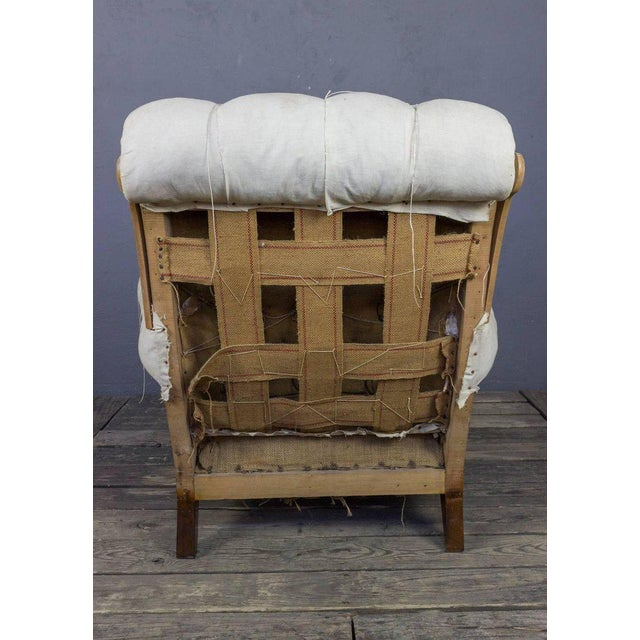 Early 20th Century Large Tufted Armchair & Ottoman For Sale - Image 5 of 9