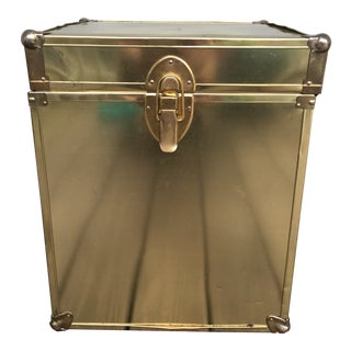Vintage 1970s Brass Cedar Lined Trunk For Sale