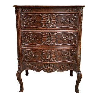 Antique French Carved Oak Commode Chest of Drawers Table Louis XV Nightstand For Sale