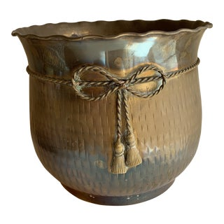 Boho Classic Rustic Brass Plant Vessel For Sale