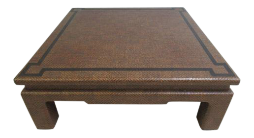 Vintage Mid Century Linen Covered Springer Style Parson Coffee Table