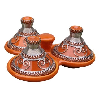 Moroccan Orange & Silver Ceramic Spice Holder For Sale