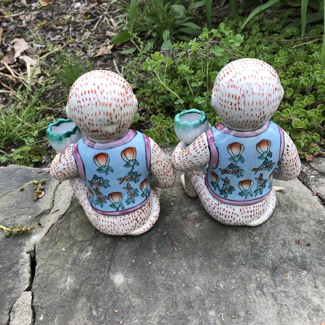 Asian 1980s Chinoiserie Monkey Candle Holder Figurines - a Pair For Sale - Image 3 of 9