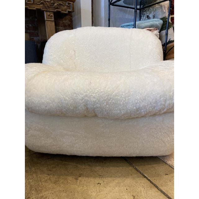 Textile 1970's Reupholstered Curly Shearling Swivel Chair - 2 Available For Sale - Image 7 of 11