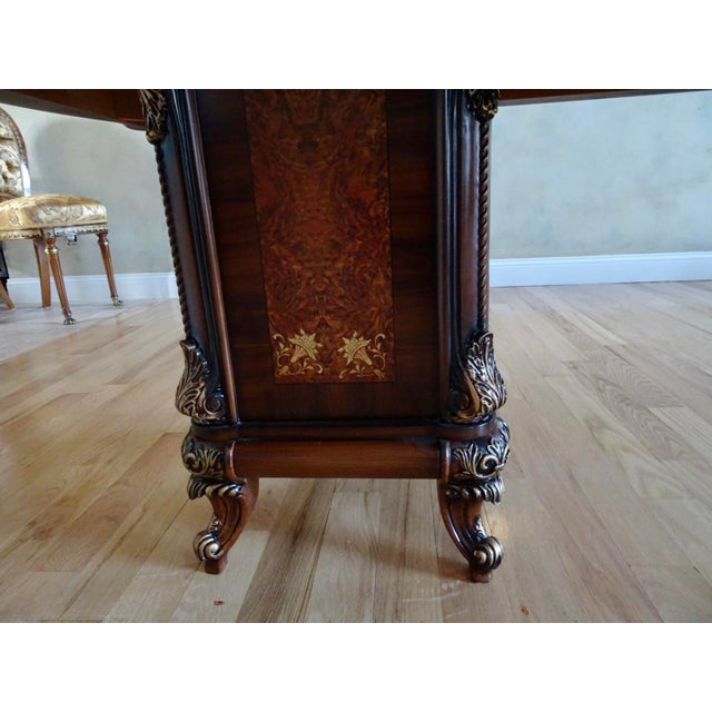 Wood Extra Large Italian Baroque Style Solid Wood Dining Set - 9 Pieces For Sale - Image 7 of 12