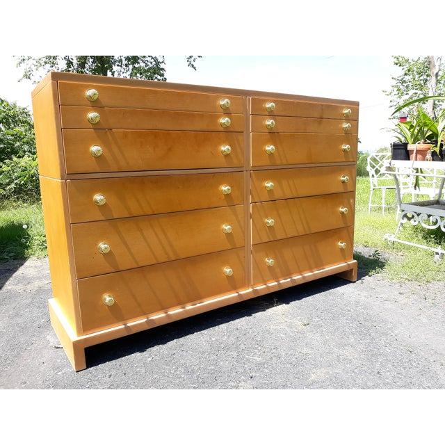 Mid-Century Modern 1940's C. G. Kimerly for Widdicomb 12 Drawer Chest For Sale - Image 3 of 13