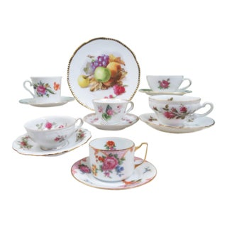 Vintage Mismatched Tea Cups and Saucers, Service for 6 For Sale