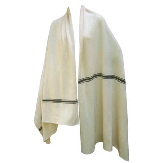 1980's Calvin Klein Cashmere Ivory Striped Shawl/Wrap For Sale