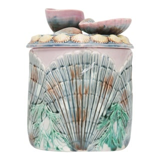 19th Century Shell and Seaweed Etruscan Majolica Lidded Jar