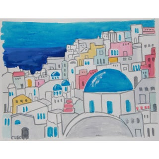 Greek Island Landscape Sea Painting by Cleo For Sale