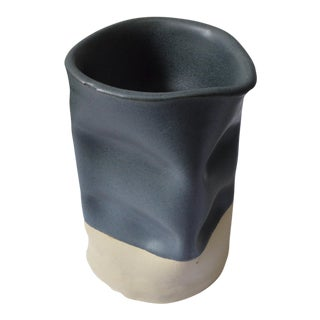 Indented Small Black Vase