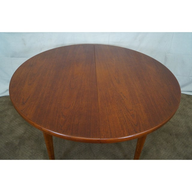 Vintage Round Teak Danish Dining Table For Sale - Image 4 of 10