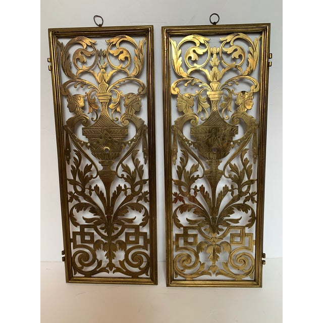 Vintage Pierced and Etched Brass Panels -A Pair For Sale - Image 13 of 13