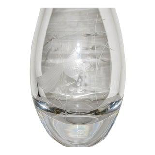 1970s Vintage Kosta Boda Fantail Goldfish Engraved Crystal Vase For Sale