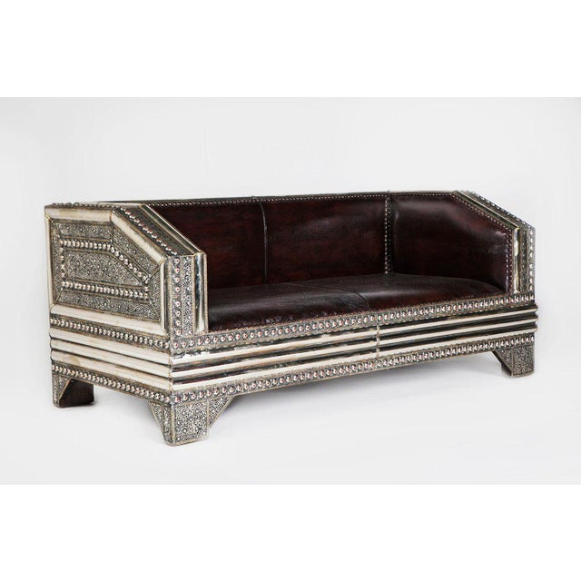 Silver Metal and Leather Royal Moroccan Loveseat - Image 2 of 4