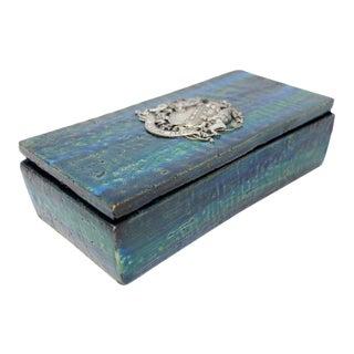 1960s Bitossi for Rosenthal Netter Ceramic Blue Lidded Box With Emblem