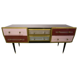 1960 Italian Vintage Rose Pink Gray Wine Gold 6 Drawers Sideboard / Console For Sale