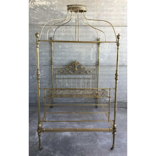 Traditional 19th Wide Brass Four Poster Bed With Bird Castings, Ornamental Motifs and Crown For Sale - Image 3 of 13