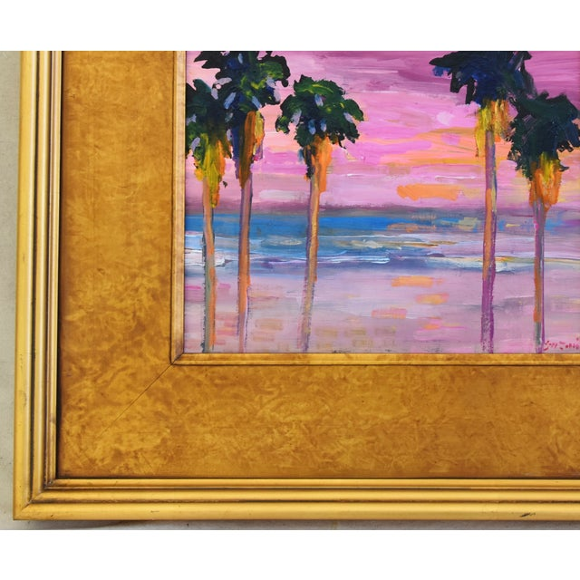 Juan Pepe Guzman Ventura Seascape Landscape W/ Palm Trees & Sunset Oil Painting For Sale In Los Angeles - Image 6 of 9