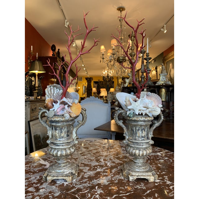 Pair of exceptional carved Italian urns with shell and faux Coral composition. Pair of Baroque style silver gilt urns,...