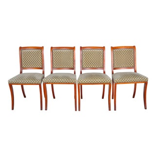 Louis XIII French Regency Maple Dining Chairs with Graphic Velvet Upholstery - Set of 4 For Sale