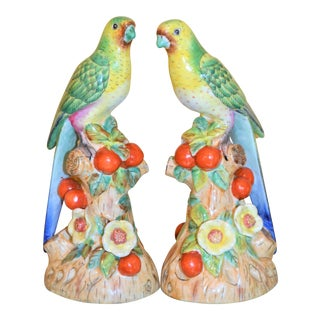 Green Majolica Parakeets Figurines - a Pair