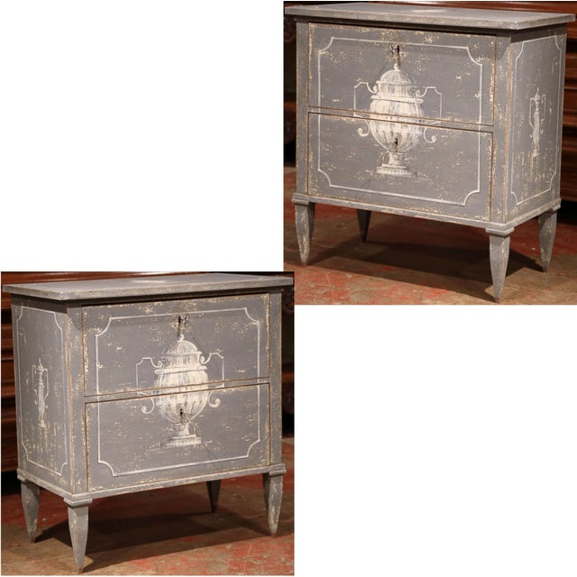 Early 20th Century French Painted Nightstands or Commodes - a Pair For Sale - Image 11 of 11