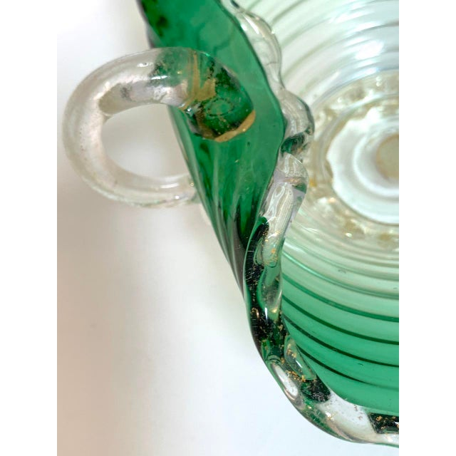 Art Nouveau Vintage Murano Glass Green Scalloped Candy Dish With Gold Flecks For Sale - Image 3 of 8