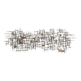 Abstract Brutalist Metal Wall Sculpture