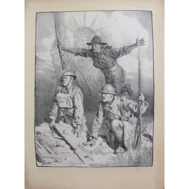 1910s 1917 Signed French Wwi Propaganda Poster, Soldiers With Statue of Liberty For Sale - Image 5 of 5