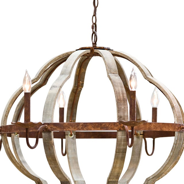 Traditional Wooden Quatrefoil Chandelier For Sale - Image 3 of 7