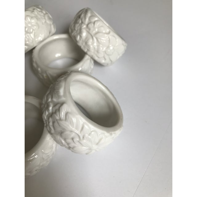 Mid 20th Century Vintage White Ceramic Napkin Rings - Set of 6 For Sale - Image 5 of 7
