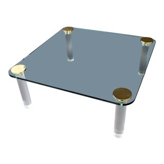 1970s Mid-Century Modern Brass Detailed Square Lucite Coffee Table For Sale