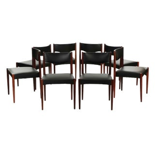 Scandinavian Mid Century Modern Rosewood Dining Chairs - Set of 8
