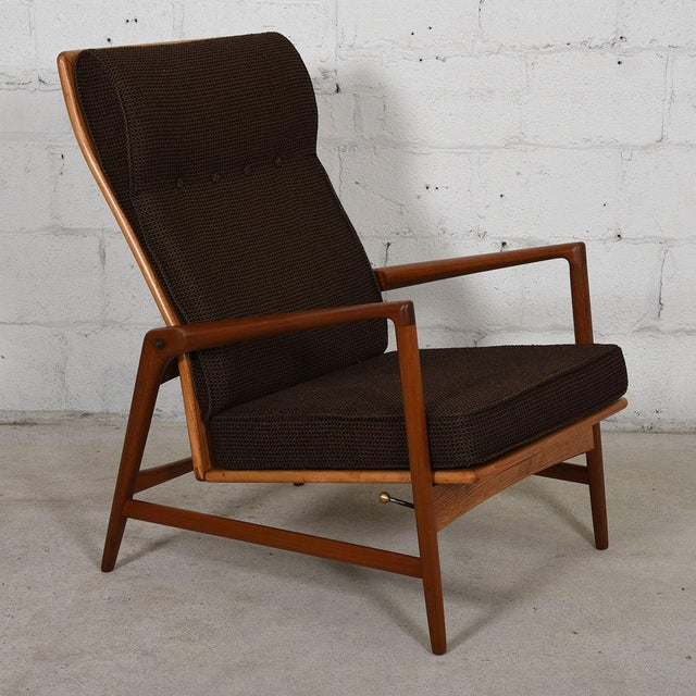Kofod Larsen Danish Modern Teak Adjustable Lounge Chair with Ottoman - Image 8 of 10