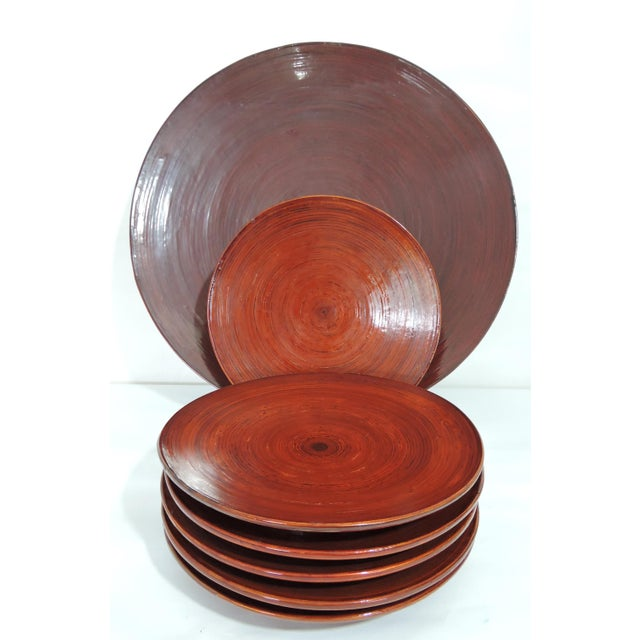 Orange Vintage Burmese Red Lacquer & Bamboo Plates and Charger - Set of 7 For Sale - Image 8 of 10