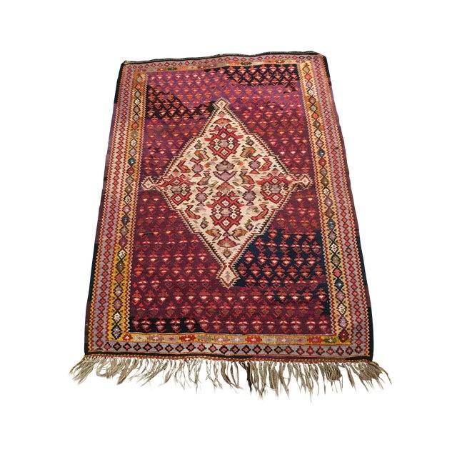 "Vintage Red & Purple Senneh Kilim - 3'4"" X 4'5"" - Image 1 of 9"